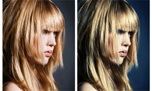 人物头发金色效果调色动作