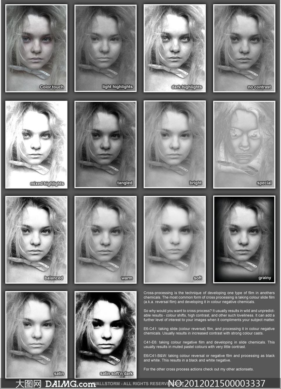 儿童头像黑白质感效果调色动作