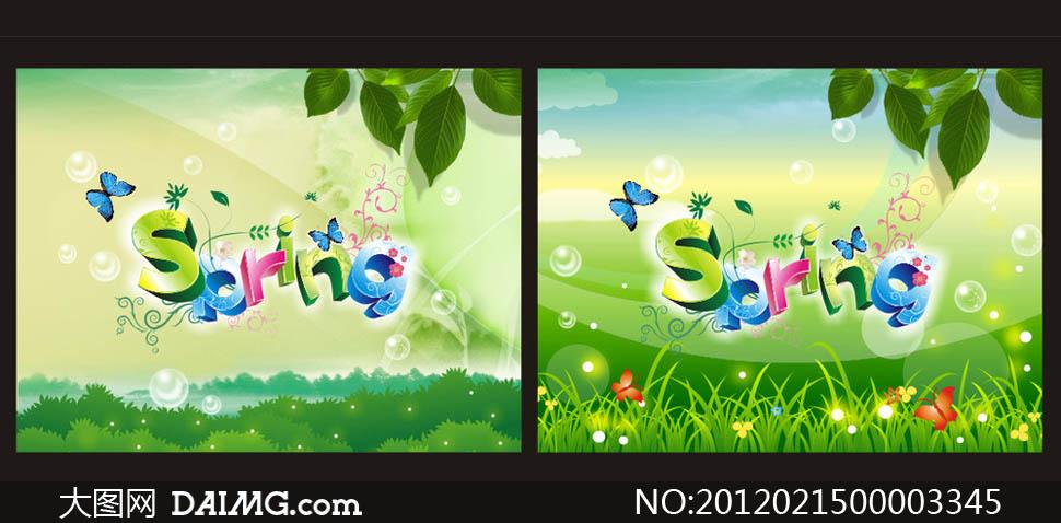 春天spring字体清爽海报设计矢量素材