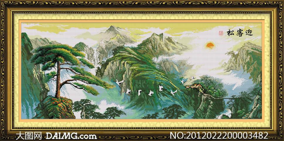 欧式油画风景图设计图片素材         树林中的仙鹤油画设计