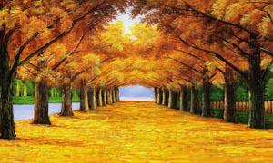 黄金树油画装饰设计图片素材