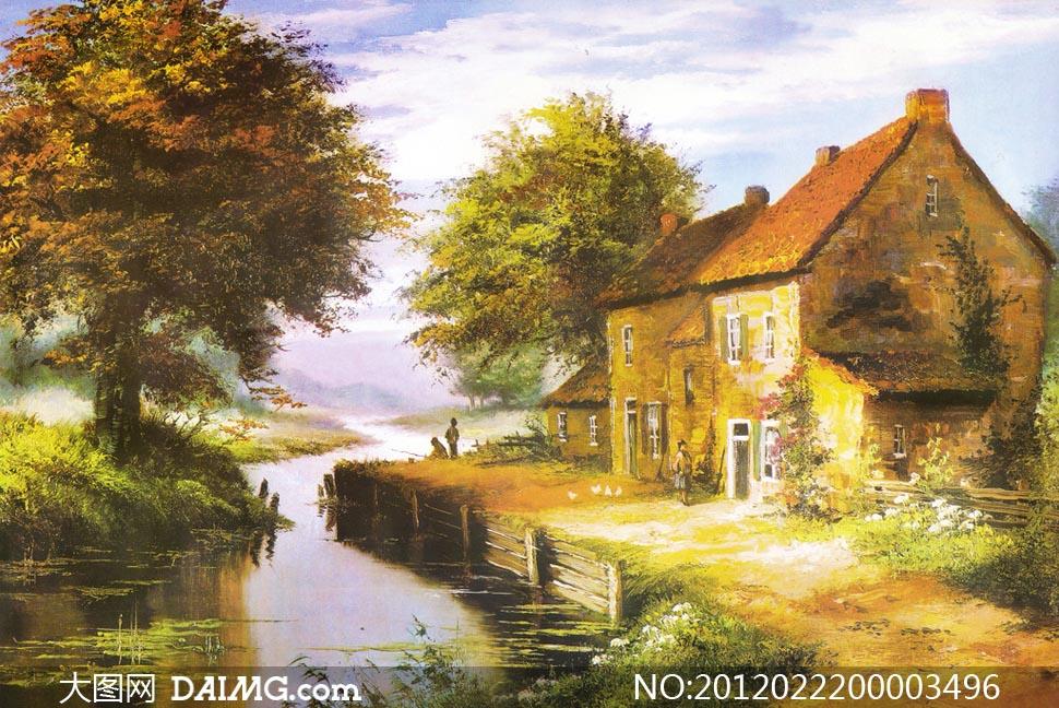 欧式油画风景图设计图片素材