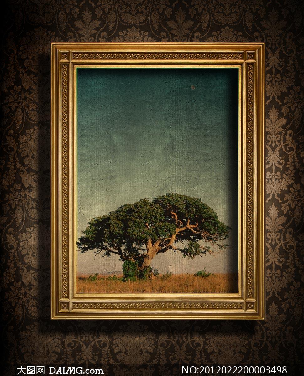 欧式画框油画设计图片素材