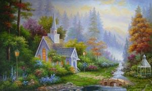 森林中的小屋风景油画图片素材
