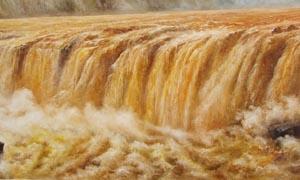 黄河瀑布油画设计图片素材