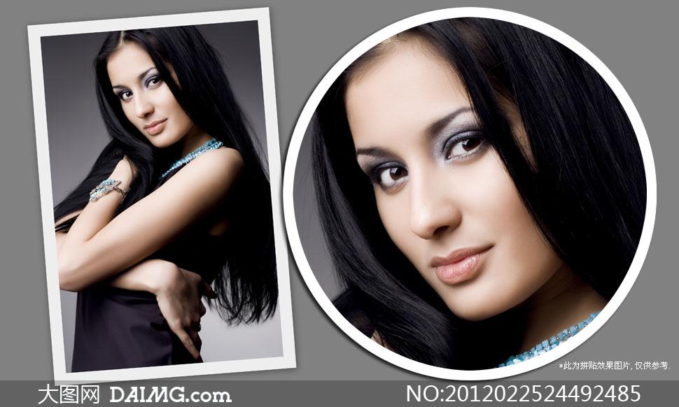 异域风情美女人物侧面摄影高清图片