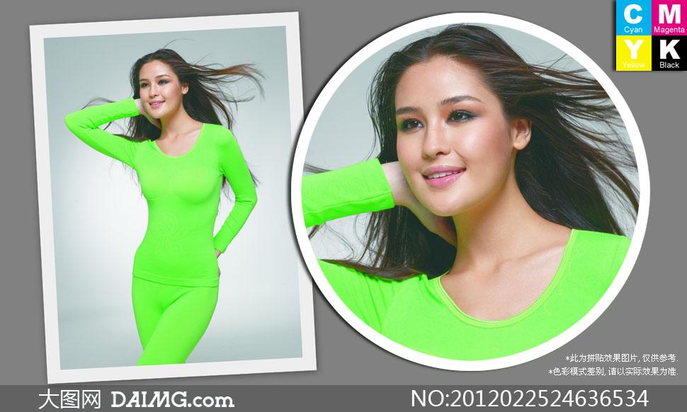 身穿绿色保暖内衣的美女高清摄影图片 大图网