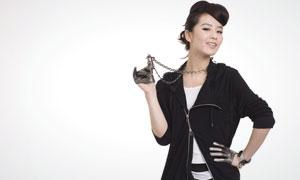 黑色帅气打扮的刘诗诗高清摄影图片