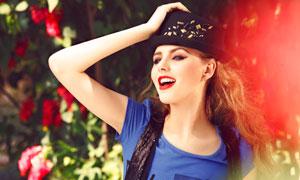 外国红唇美女模特人物侧面摄影高清图片