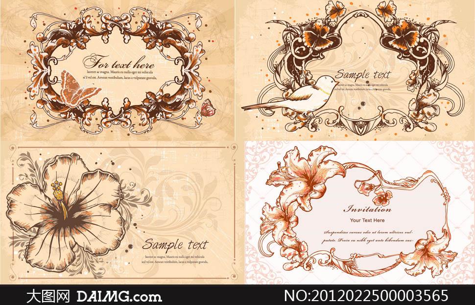 欧式时尚潮流梦幻手绘花纹花朵小鸟边框背景底纹矢量