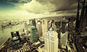 冷暗色调的城市俯视图设计图片