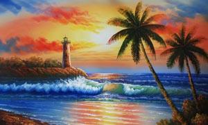 海边朝阳油画设计图片