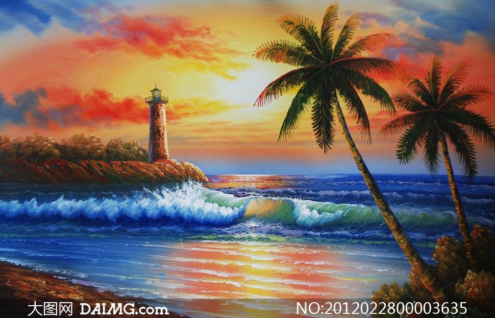 海水沙滩云霞灯塔朝阳海上文化艺术高清摄影图片素材