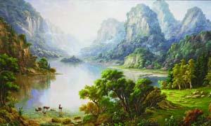 山下的树林和湖面油画设计