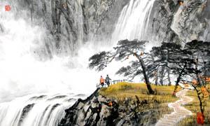 中国风山崖飞瀑水墨画图片素材