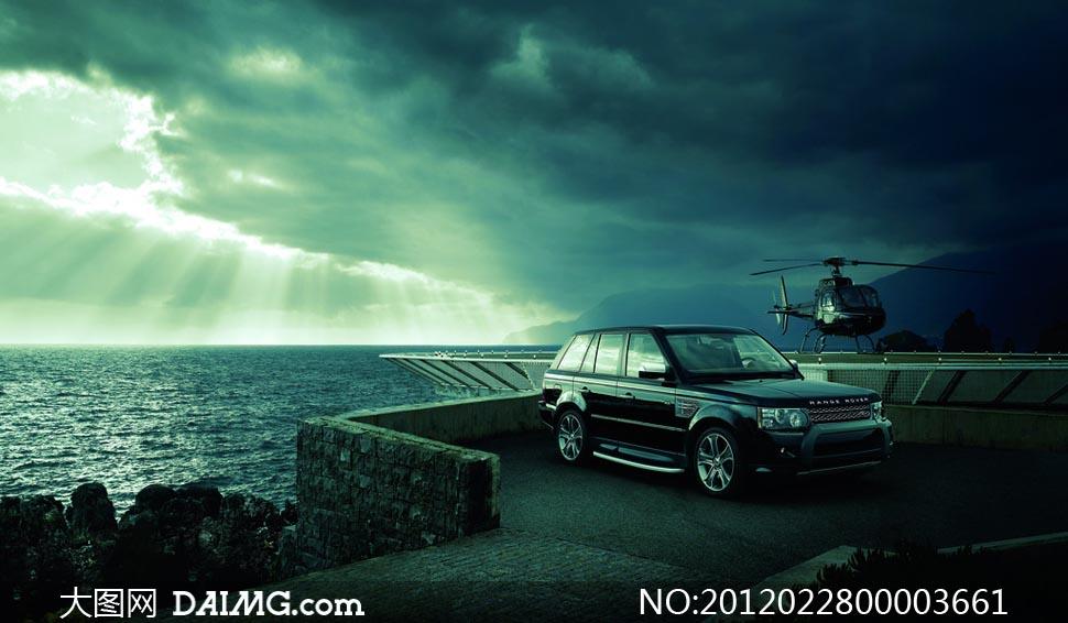海边停放的汽车摄影图片