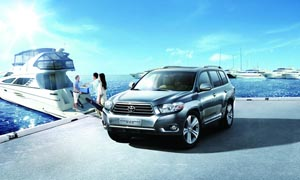 码头上停放的丰田汽车摄影图片
