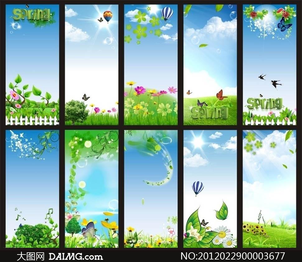 燕子蝴蝶春意春季背景春天素材花吊牌超市商场展板