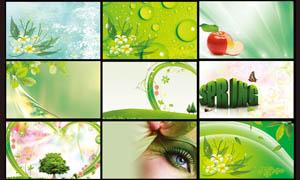 绿色清新的名片背景PSD分层素材