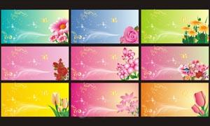 梦幻花朵展板设计矢量素材