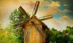 唯美风光与风车小木屋高清摄影图片