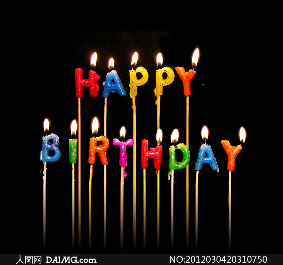 点燃着的生日蜡烛高清摄影图片