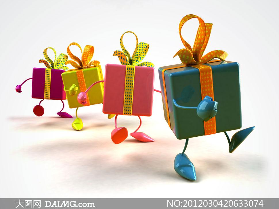 素材/会走路的礼物盒子卡通形象高清摄影图片...