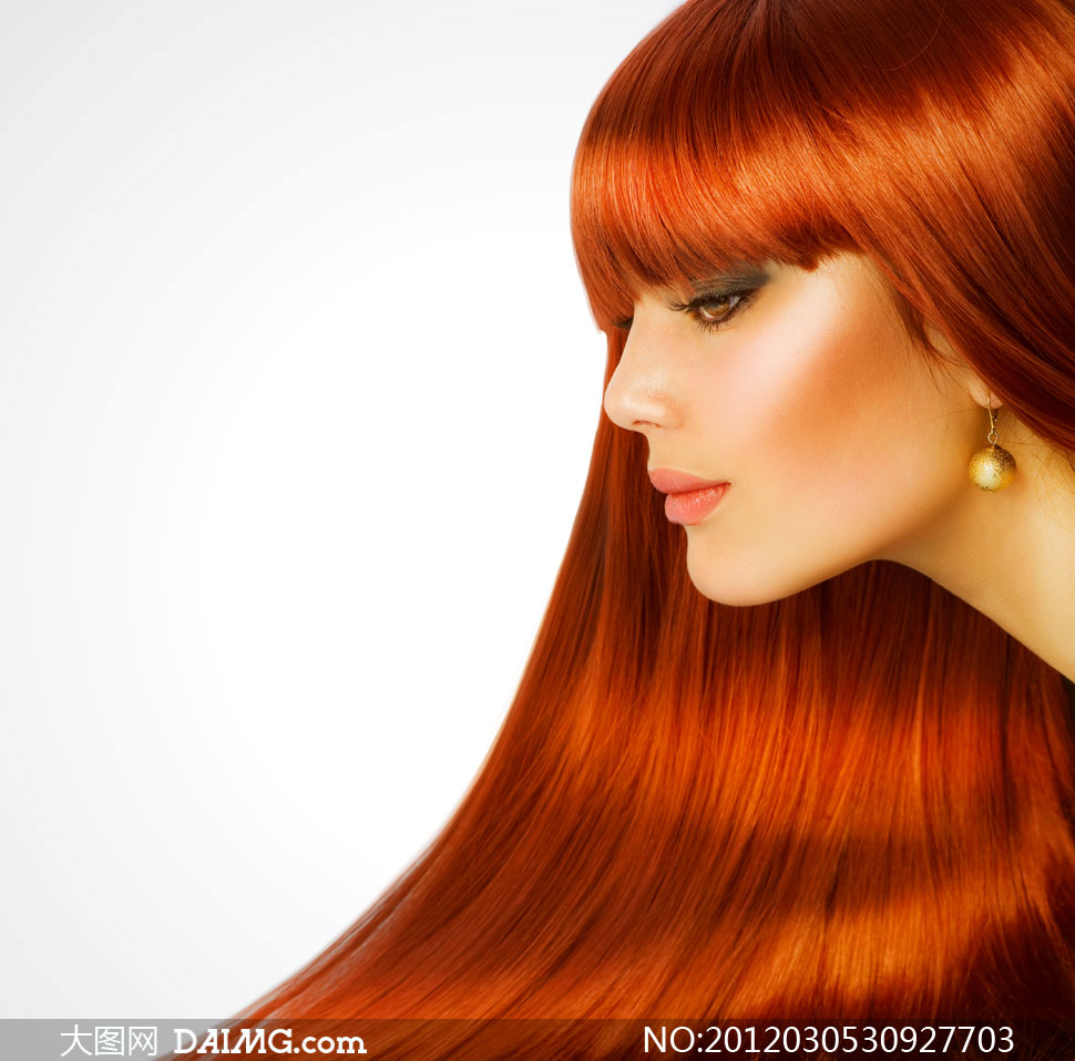 秀发长发直发亮泽侧面外国国外柔顺齐刘海儿红棕色