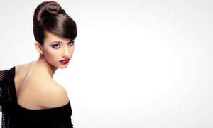 外国盘头红唇美女人物高清摄影图片