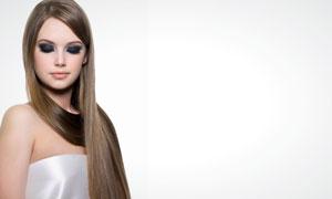 烟熏妆披肩长发美女人物高清摄影图片