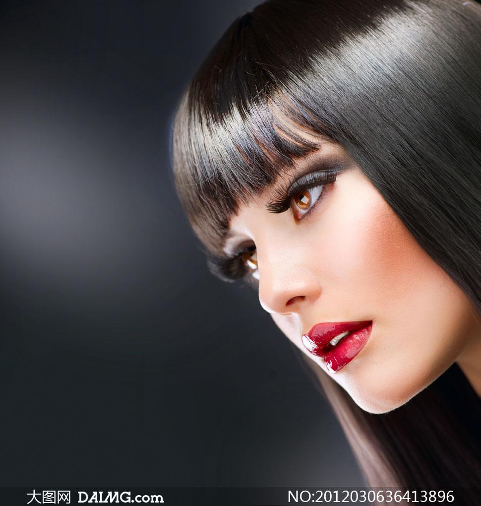 黑发红唇美女模特人物高清摄影图片