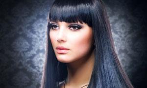 柔顺黑色披肩长发美女人物高清摄影图片