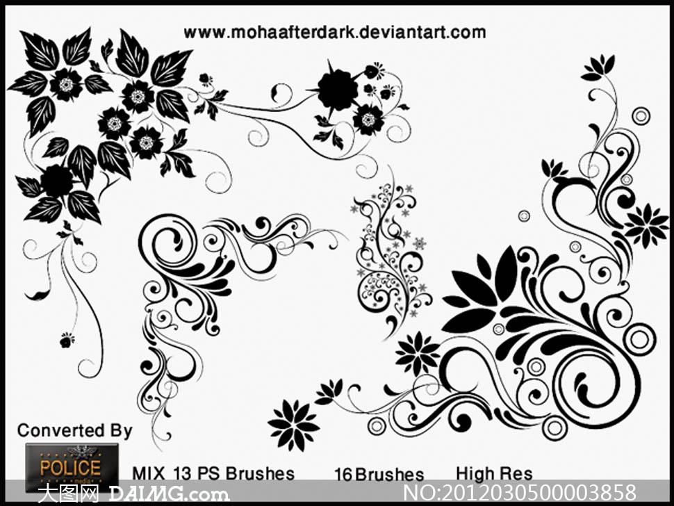 潮流时尚花纹藤蔓装饰笔刷 大图网设计素材下载