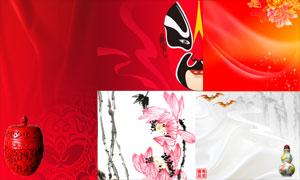 面具水墨画等中国风设计元素PSD分层素材
