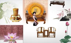 古典家具等中国风主题元素PSD分层素材