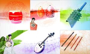 古典乐器等中国风主题设计元素PSD分层素材