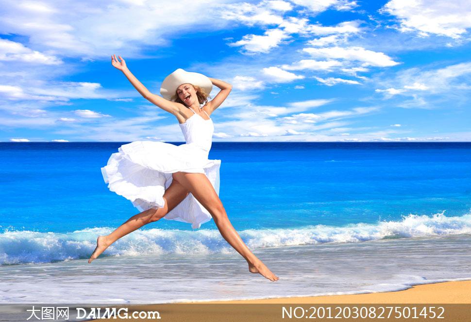 高清大图图片摄影素材人物美女女孩女人大海海面海边