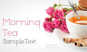 茶杯与鲜花饼干高清摄影图片