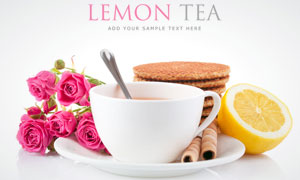 饼干水杯与粉红色玫瑰花高清摄影图片