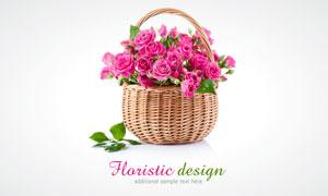 装满篮子的粉红色玫瑰花高清摄影图片