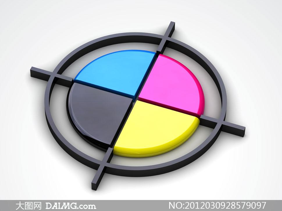 cmyk色彩模式立体圆盘创意摄影高清图片