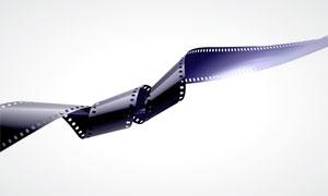 缠绕状态的电影胶片高清摄影图片