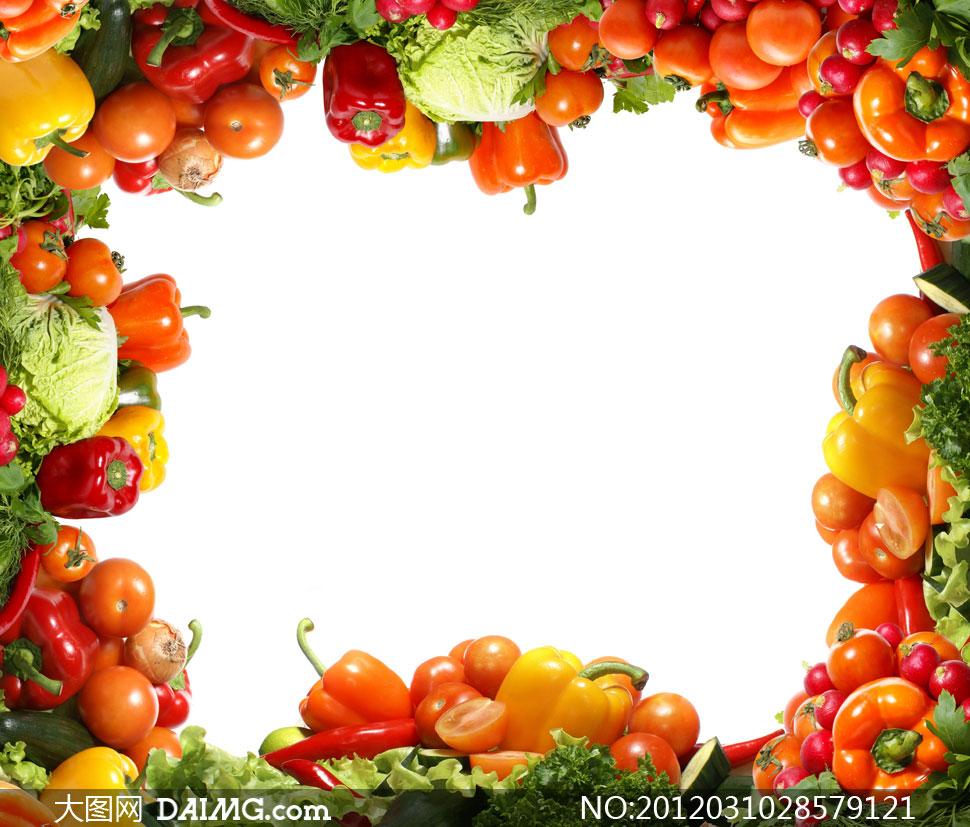 辣椒西红柿等蔬菜组成的边框高清图片