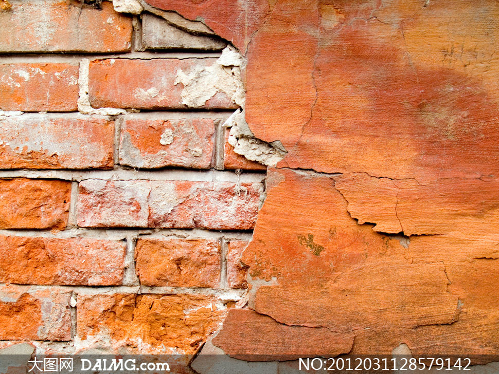 白色砖墙贴图_颓废墙壁脱落效果摄影高清图片 - 大图网daimg.com