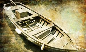颓废破旧小木船高清图片