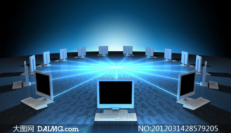 多台电脑网络互联创意设计高清图片图片