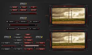 红色和黑色质感的网页按钮PSD分层素材
