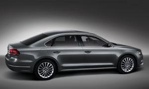 黑色新帕萨特汽车侧面展示高清摄影图片