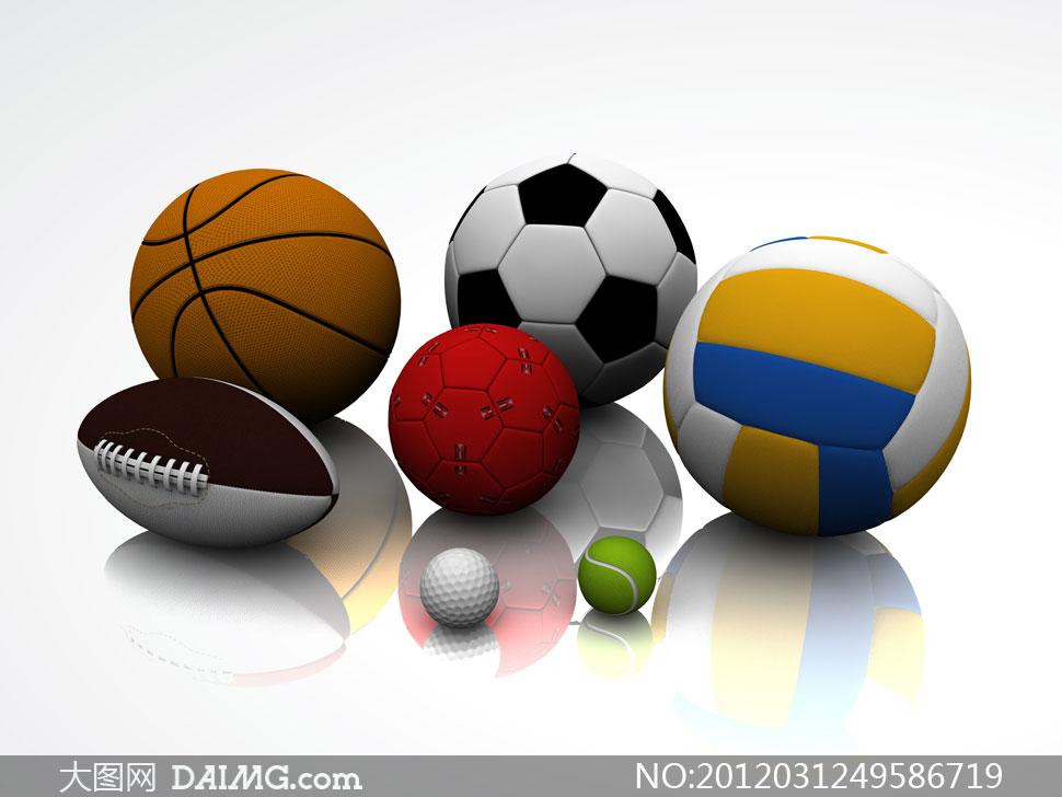 足球篮球等球类运动用品高清摄影图片