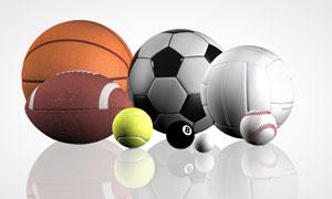 篮球足球排球等球类运动用品高清图片